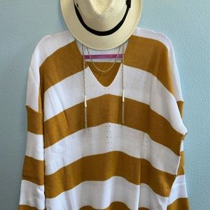 Soft and Cozy Mustard Stripe Sweater Top Plus Size